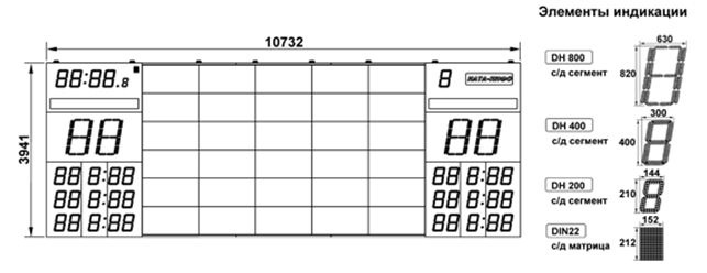 Универсальное информационное табло для Дворцов спорта «НАТА 1980»